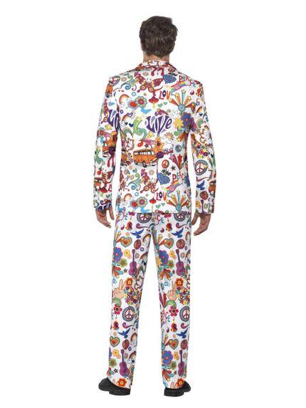 60's Groovy Anzug mit Krawatte Herren Kostüm Flower Power – Bild 3