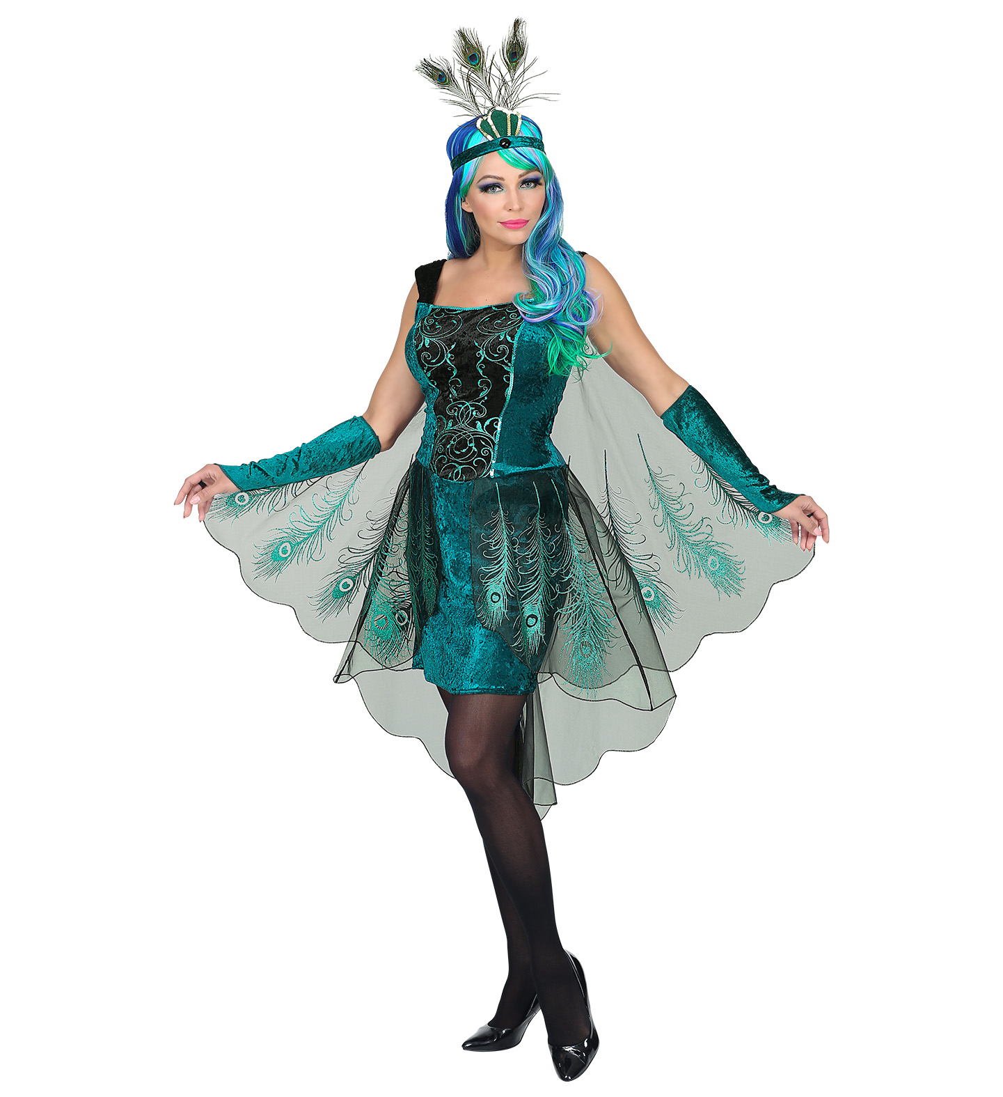 3 teiliges pfau damen kost m kleid federn kopfschmuck karneval verkleidung kost me accessoires. Black Bedroom Furniture Sets. Home Design Ideas
