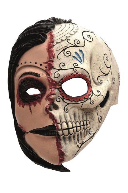 Latex Maske 2 Gesichter  Zombie Frau Dia de los Muertos