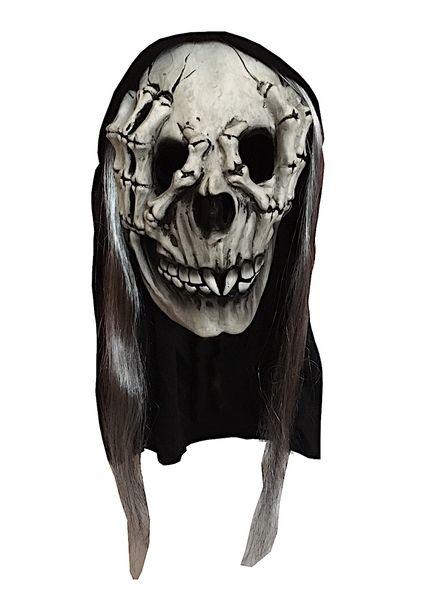 Latex Maske Totenkopf Handknochen mit Kapuze und Haaren – Bild 1