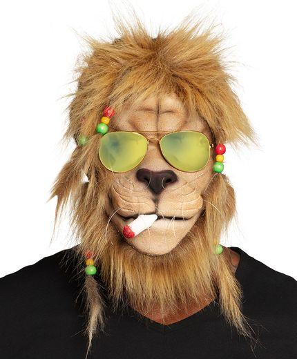 Maske Kiffender Rasta Löwe mit Haaren und Brille – Bild 1