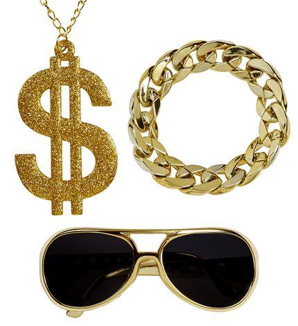Hustler Rapper Zuhälter Set Brille Kette Armband – Bild 1