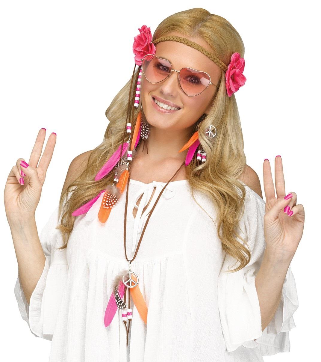 5 teiliges 60er jahre flower power hippie set herz brille haarband ohrringe kette perlen. Black Bedroom Furniture Sets. Home Design Ideas