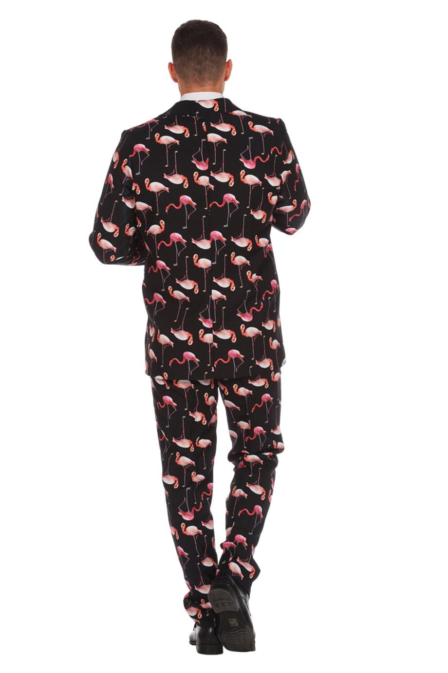 Herren Anzug Flamingo Muster Mit Krawatte Sakko Jackett Hose