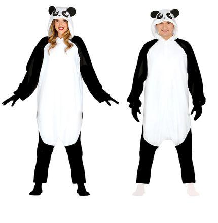 Kostüm Panda Bär Fleece Overall mit Kapuze – Bild 1