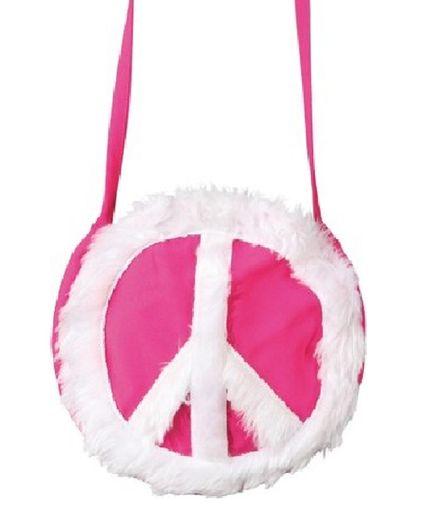 Runde Hippie-Tasche mit Peace-Zeichen – Bild 1