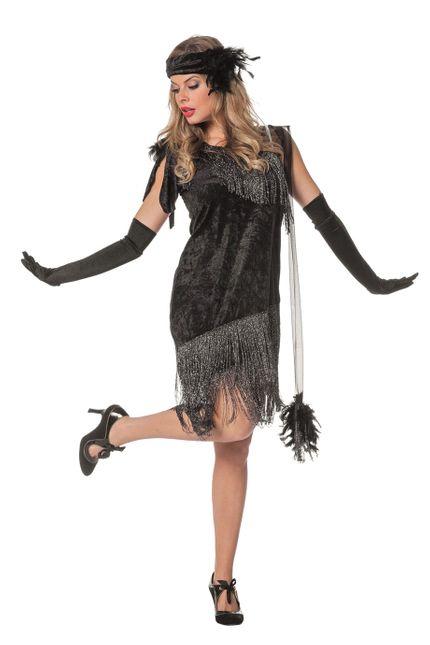 Charleston Flapper Damen Kostüm Schwarz – Bild 1