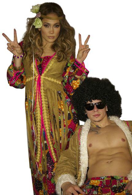 Hippie Damen Kostüm - Langes Kleid mit Weste – Bild 2