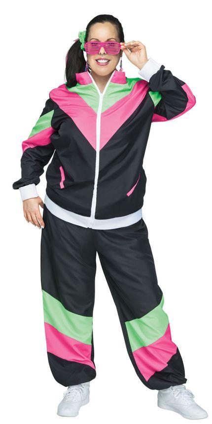 Trainingsanzug 80er Jahre Damen Kostüm Schwarz/Pink/Grün – Bild 3