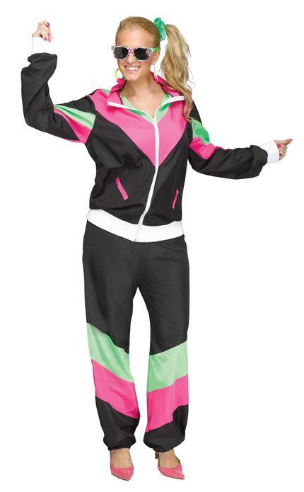 Trainingsanzug 80er Jahre Damen Kostüm Schwarz/Pink/Grün – Bild 1