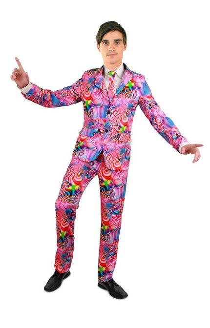 Psychedelic Disco Party Herren Anzug mit Krawatte – Bild 1