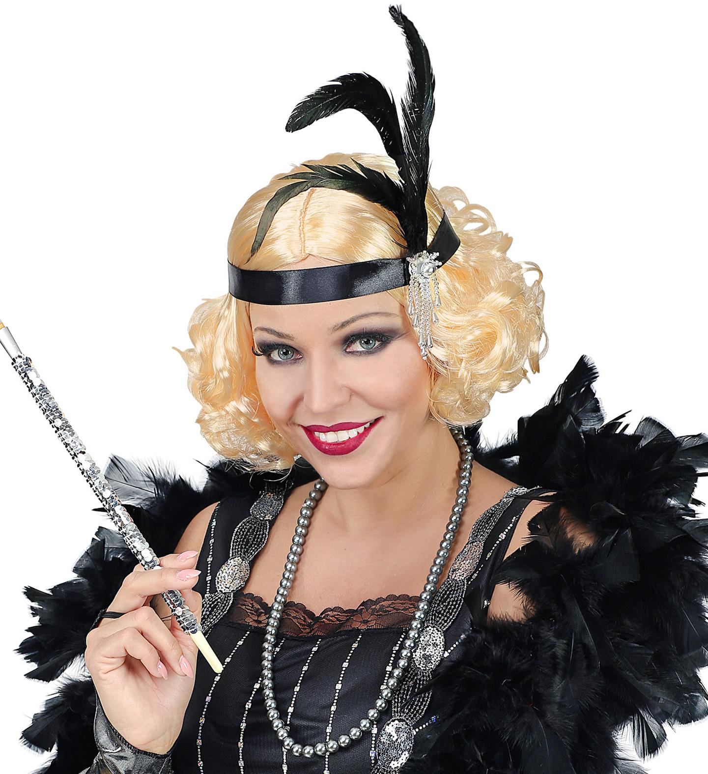 wie man kauft begrenzter Verkauf Turnschuhe für billige Blonde 20er Jahre Charleston Damen Perücke inkl. Haarband mit Federn