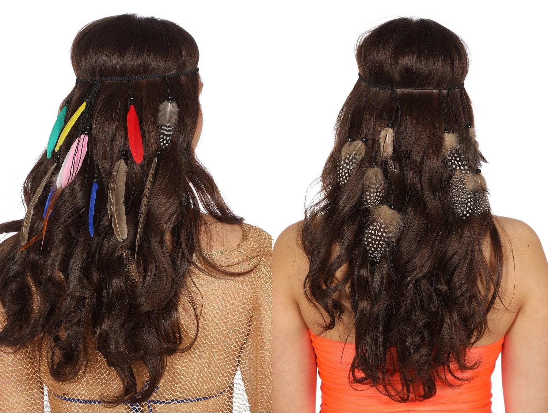 65862dab82018e Geflochtenes Stirnband mit Federn und Perlen für Indianerin oder Hippie  Kostüm
