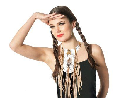 Indianer Brustplatte Halsschmuck mit Perlen Fransen und Federn – Bild 2