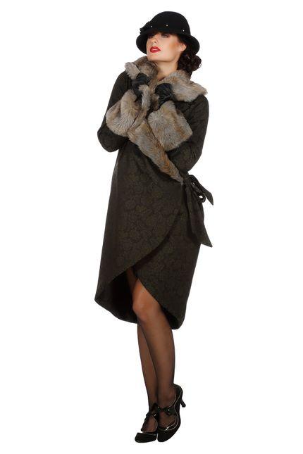 Eleganter 20er Jahre Damen Mantel mit Pelz – Bild 1