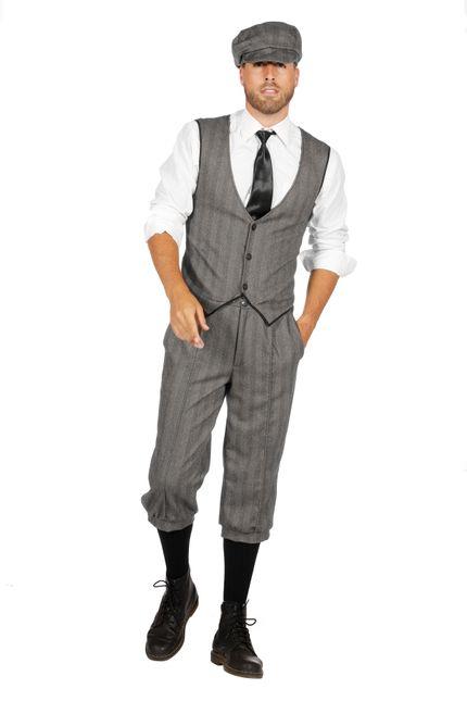 20er Jahre Peaky Blinders Anzug Knickerbocker Herren Kostüm Schwarz-Weiß – Bild 1