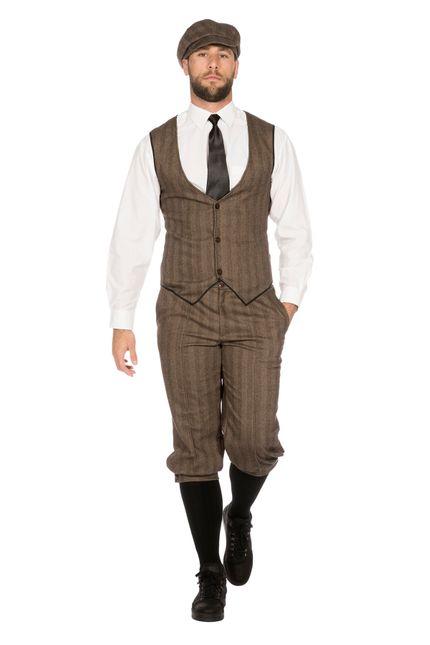 20er Jahre Peaky Blinders Anzug Knickerbocker Herren Kostüm Braun-Beige – Bild 1