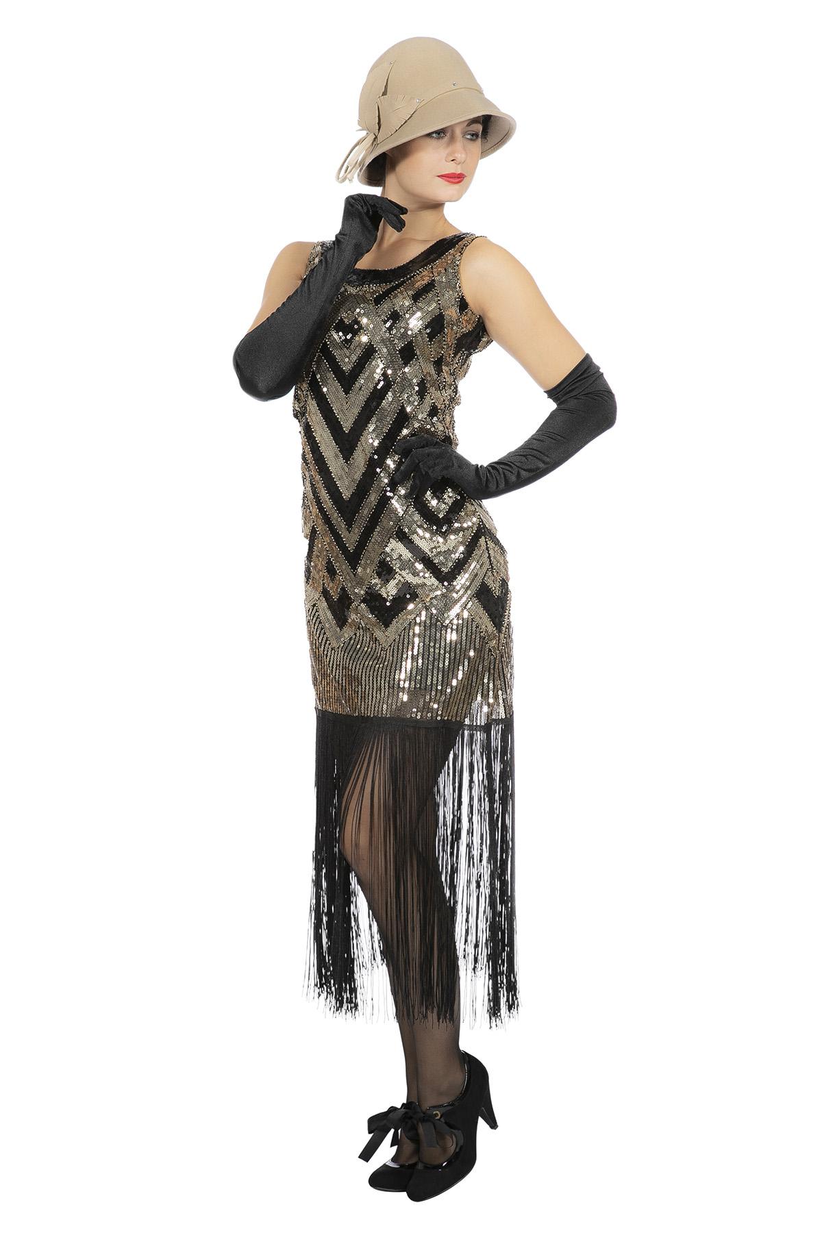 18er Jahre Damen Kleid Charleston Flapper Pailletten Fransen Gold-Schwarz