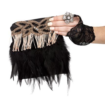 Charleston Flapper Handtasche Federn Fransen – Bild 2