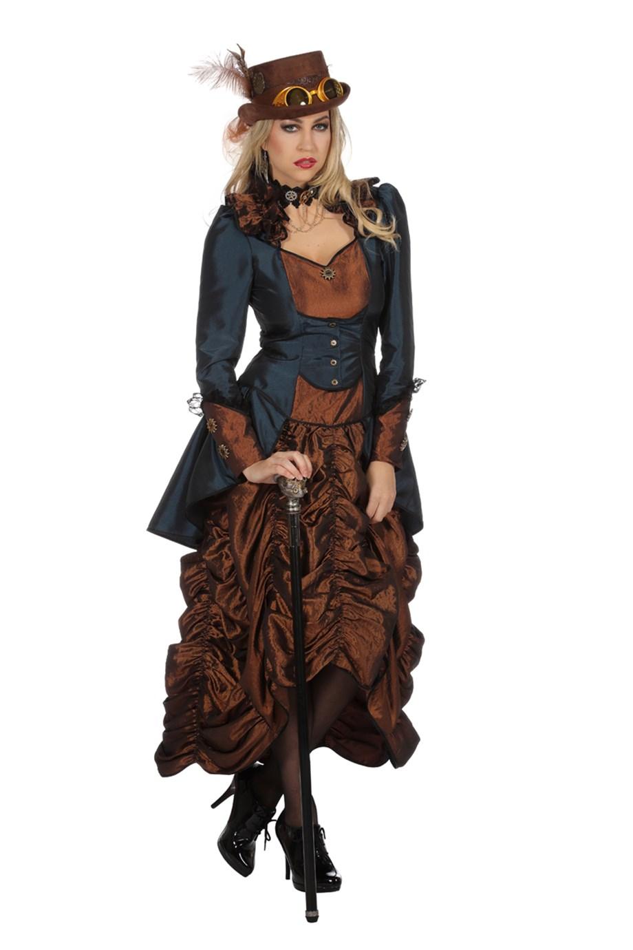 Steampunk Kleid Braun/Blau Damen Kostüm | shoperama
