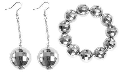 Damen Schmuck Set Discokugel Armband Ohrringe Silber – Bild 1