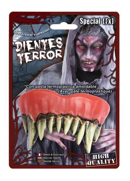 Spitze Horror Monster Zähne mit Belag inklusive Thermoplast-Masse – Bild 3