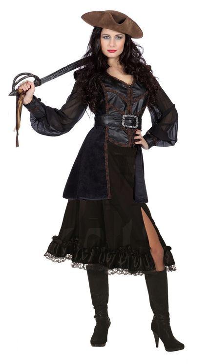 Piratin Jacke Weste Totenköpfe Damen Kostüm – Bild 2