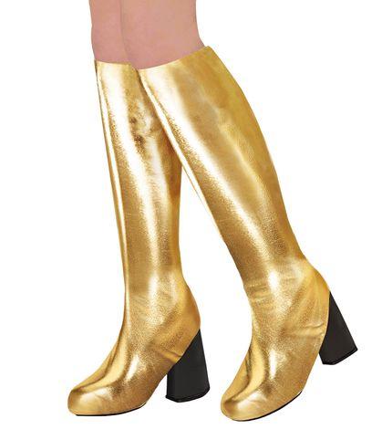 70er Metallic Damen Stiefel Überzieher Stulpen glänzend – Bild 4