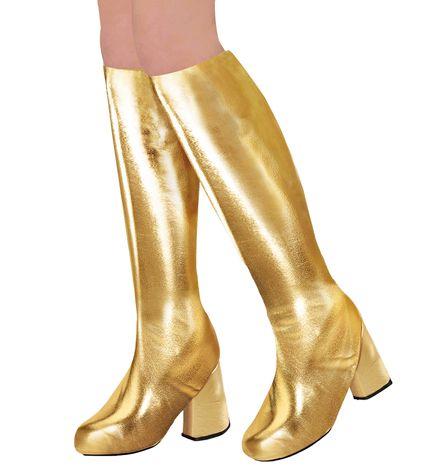 70er Metallic Damen Stiefel Überzieher Stulpen glänzend – Bild 2