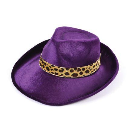 Lila Pimp Fedora Hut Samt mit Leoparden Hutband