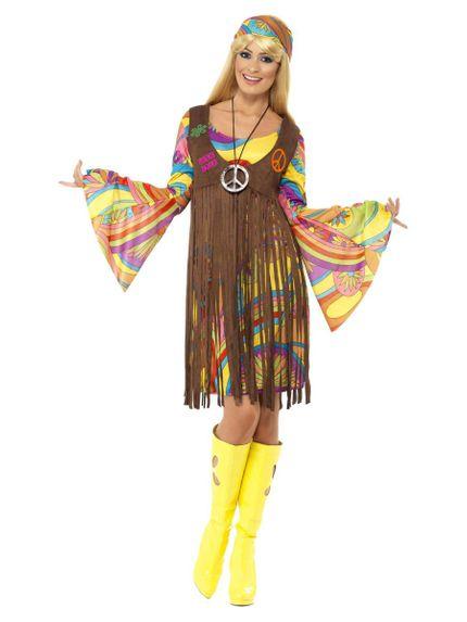 1960s Groovy Lady Hippie Damen Kostüm Kleid Fransenweste Stirnband – Bild 1