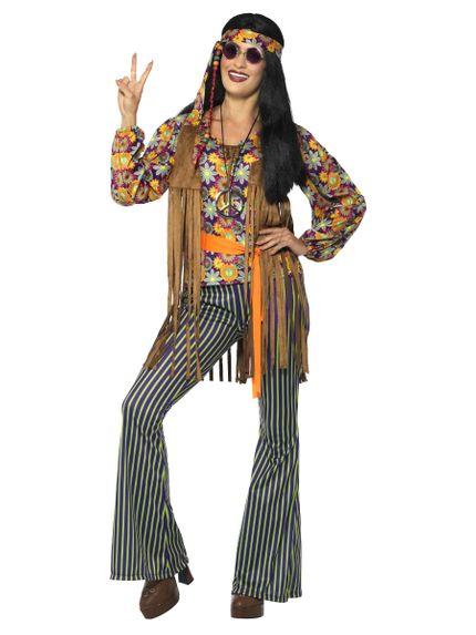 60s Hippie Sängerin Damen Kostüm Hose Bluse Fransenweste Stirnband Gürtel – Bild 1
