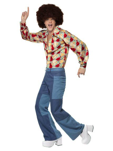 70er Jahre Retro Herren Disco Kostüm Hemd Denim-Hose – Bild 2