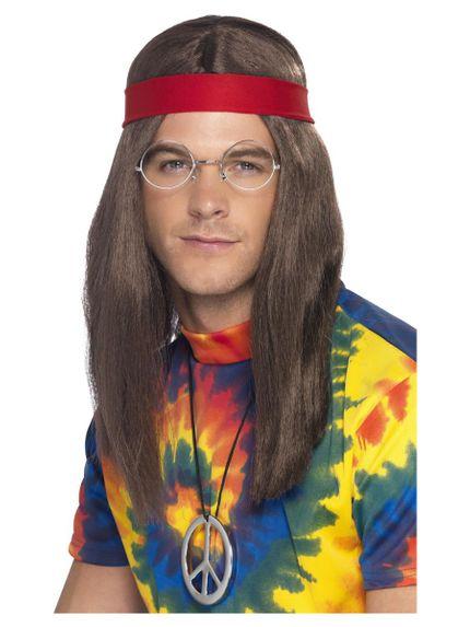4-teiliges 60er Jahre Hippie Set Perücke Peace Kette Stirnband Brille