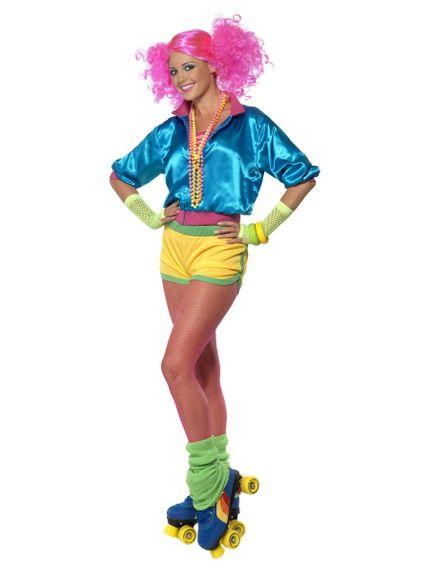 3-teiliges 80er Jahre Skater Girl Damen Kostüm – Bild 1