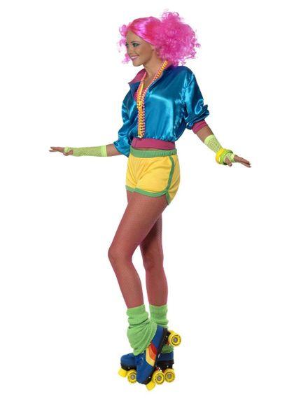 3-teiliges 80er Jahre Skater Girl Damen Kostüm – Bild 2