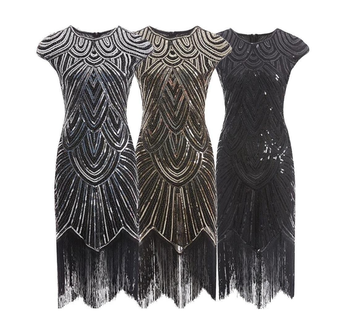 13er Jahre Charleston Damen Kleid Pailletten Fransen Flapper Kostüm