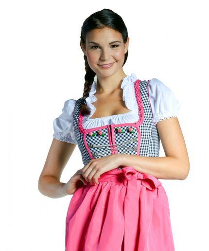 Midi Dirndl Nadine - schwarz/weiss kariert - pink - 32-46 – Bild 1