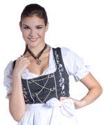 Mini Midi Dirndl Emma Schwarz/Weiß Bluse Schürze 001
