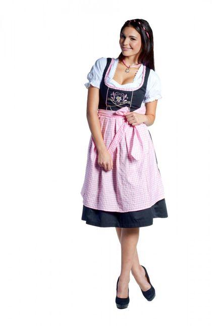Midi-Dirndl Frida Schwarz/Rosa Edelweiß 32-46 – Bild 1