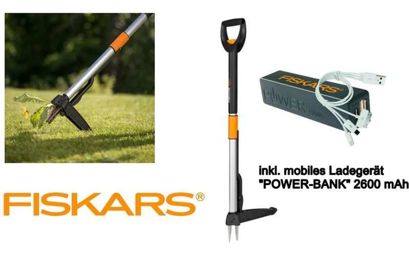 fiskars teleskop unkrautstecher smartfit unkrautentferner fiskars power bank ebay. Black Bedroom Furniture Sets. Home Design Ideas