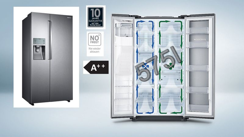 Side By Side Kühlschrank 10 Jahre Garantie : Samsung side by side a total no frost kÜhl gefrierkombination