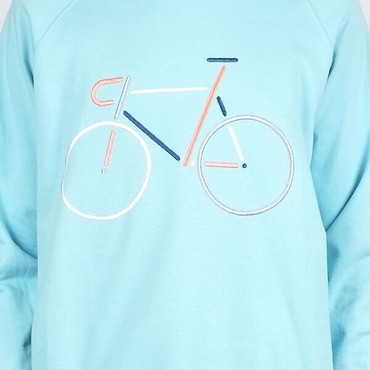 DEDICATED - YSTAD COLOR BIKE SWEATER - BEACH BLUE