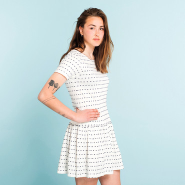 DEDICATED - SANDVIG STRIPE DOTS DRESS - OFF-WHITE