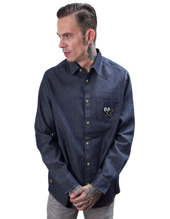 THE DUDES - RODEO DUCK DENIM SHIRT - INDIGO BLUE