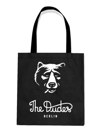 THE DUDES - SMOKING BEAR TOTE BAG - BLACK