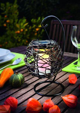 Solar Hängeleuchte Korfu Tischlampe Kerzenflackerlampe     – Bild 2