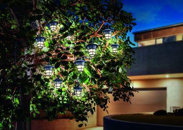 Solar LED Lichterkette mit Laternen im Asia Style warmweiss 3000 K     – Bild 2