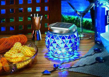 Solar Mosaik-Tischleuchte brilliant-blau 5000 K    – Bild 2