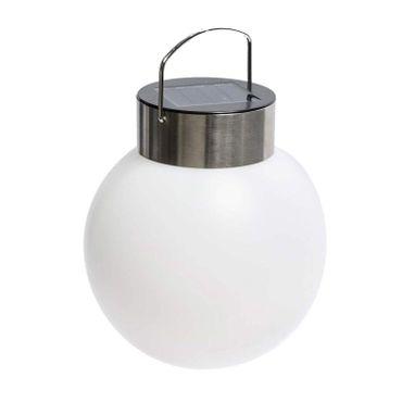 Solarleuchte Kugel - Gartenbeleuchtung zum Hängen - Kunststoff Edelstahl - Ø 13 cm - Weiß – Bild 1